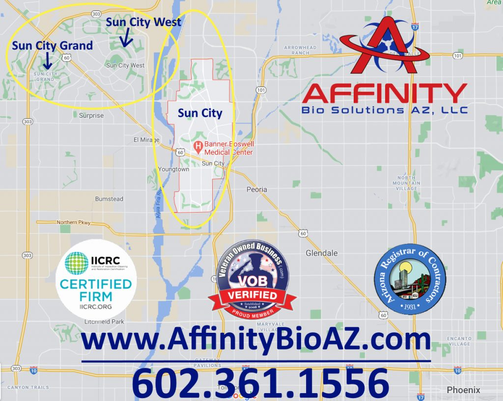 Sun City, Sun City West, and Sun City Grand Arizona crime scene, trauma scene, hoarder home cleaner and biohazard cleanup