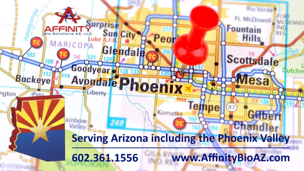 Phoenix Arizona Map for medical waste pickup in Maricopa County