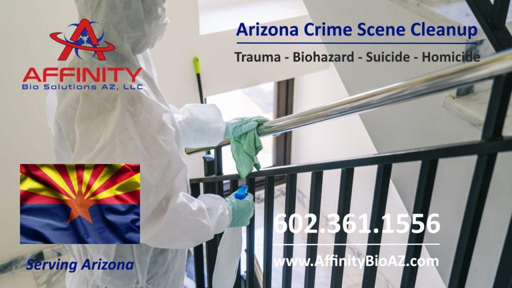Crime scene trauma scene biohazard cleaning at a building in Gilbert, Arizona