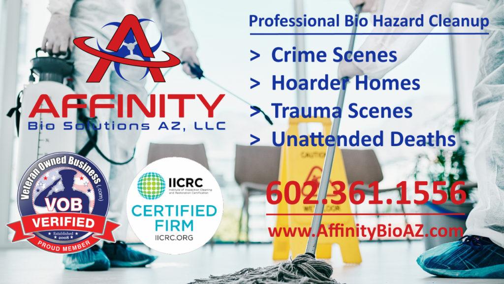 Phoenix Arizona Biohazard Cleaning Crime Scene Cleanup Hoarder home and homeless encampment bio-hazard clean-up in AZ