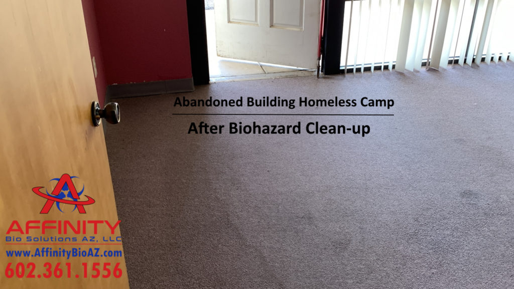 Phoenix Arizona Sun City AZ abandoned building homeless encampment biohazard cleanup After pic
