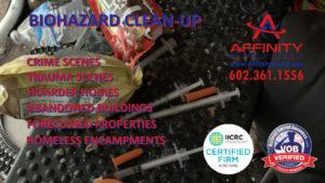 Phoenix Arizona Sun City AZ abandoned building homeless encampment biohazard Hoarder Home cleanup