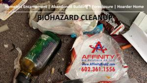 Phoenix Arizona Sun City AZ abandoned building homeless encampment biohazard cleanup
